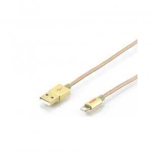 Apple charger/data cable, Apple 8pin - USB A M/M, 1.0m, iP5/6/7, High Speed, Nylon jacket, MFI, gold, gd