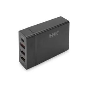 4-Port USB Charger, 72W, 1xUSB-C (Power Delivery), 5,9,15,20V/3A, 3x USB-A 5V/2.4A, black 3x USB-A 5V/2.4A, black