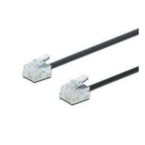 UAE connection cable, RJ11 3.00m, CU, 4x7x0,12mm, unshielded, M/M, Flat cable, black