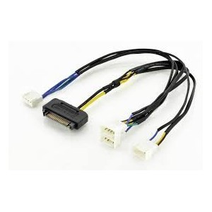 Internal Y-power supply cable M/F/F/F/F,0.3m,SATA 15-p -3x Molex3-p+Molex4-p,