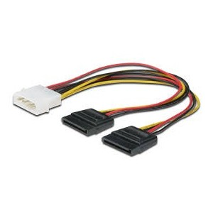 Internal Y-splitter power supply cable 0.2m, IDE - 2x SATA 15pin connector,